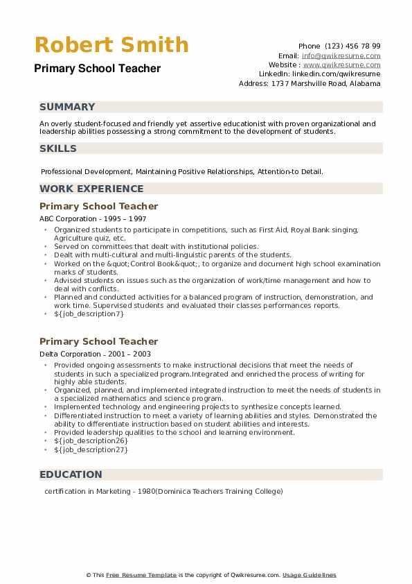 Primary School Teacher Resume example