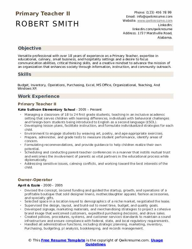 Primary Teacher II Resume Example
