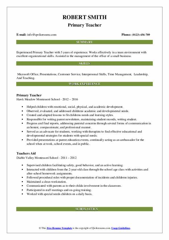 Primary Teacher Resume Sample