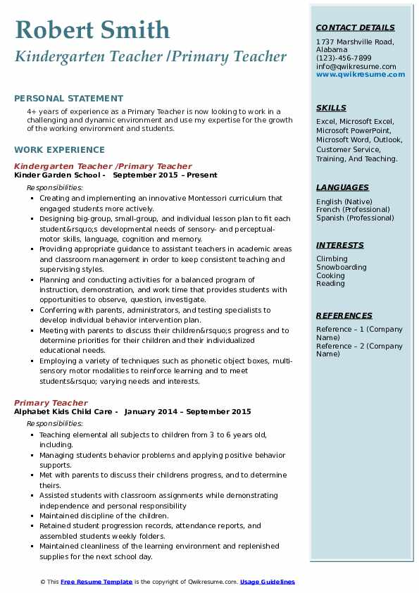 Kindergarten Teacher /Primary Teacher Resume Template