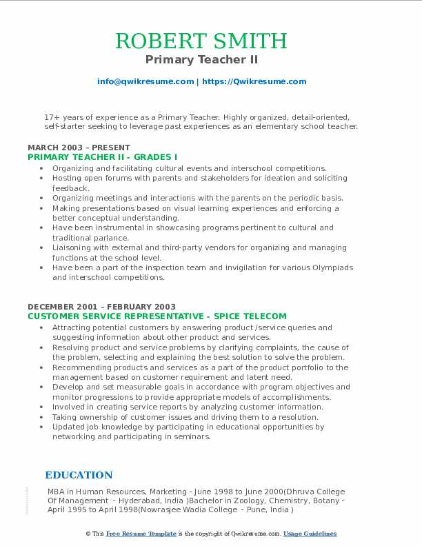 Primary Teacher II Resume Sample