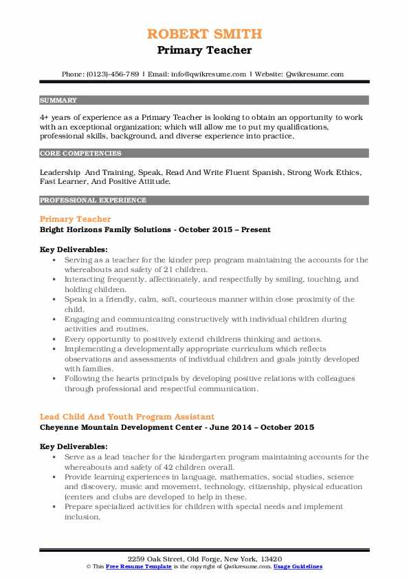 Primary Teacher Resume Samples Qwikresume