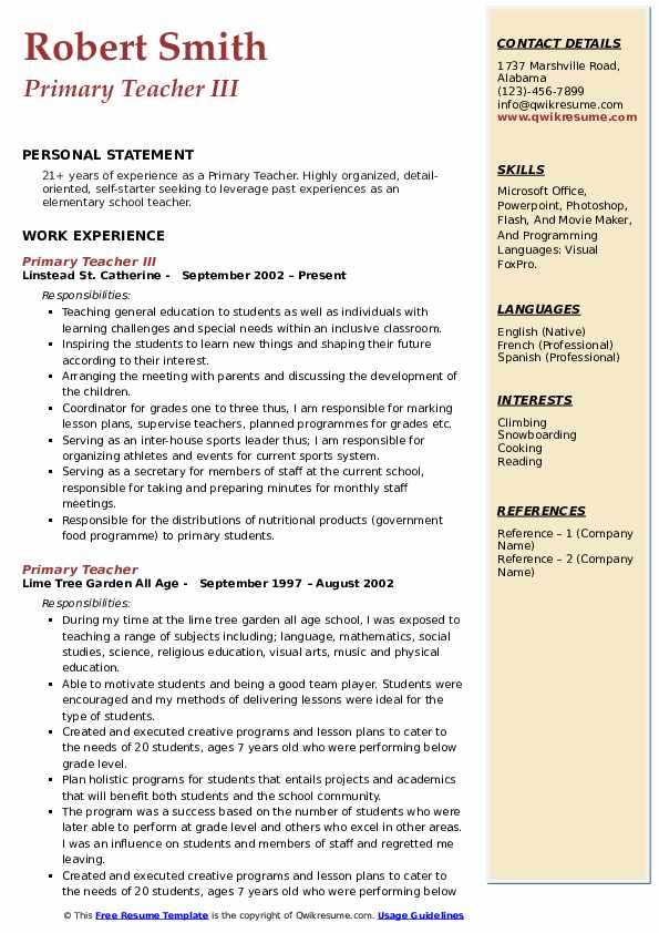 Primary Teacher III Resume Format