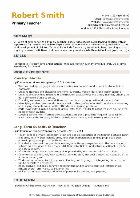 primary teacher resume samples
