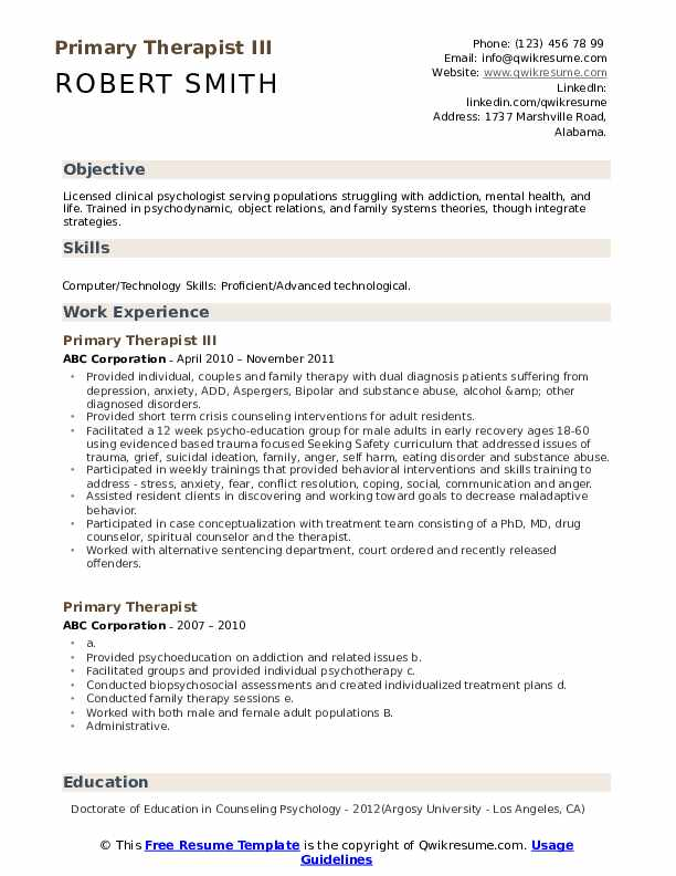 Primary Therapist III Resume Example