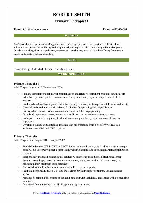 Primary Therapist I Resume Template