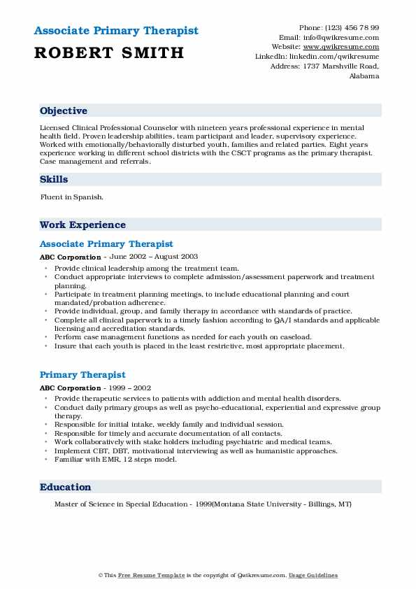 Associate Primary Therapist Resume Example