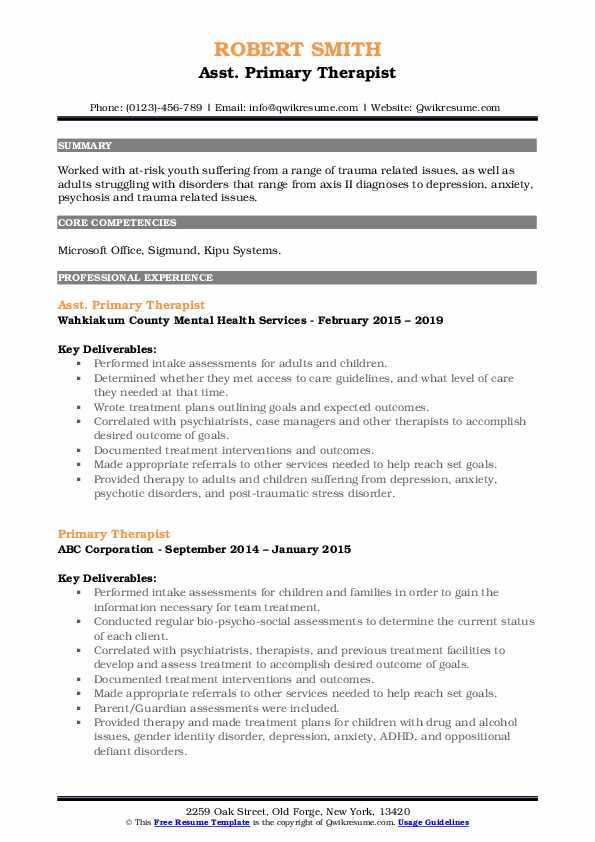 Asst. Primary Therapist Resume Format