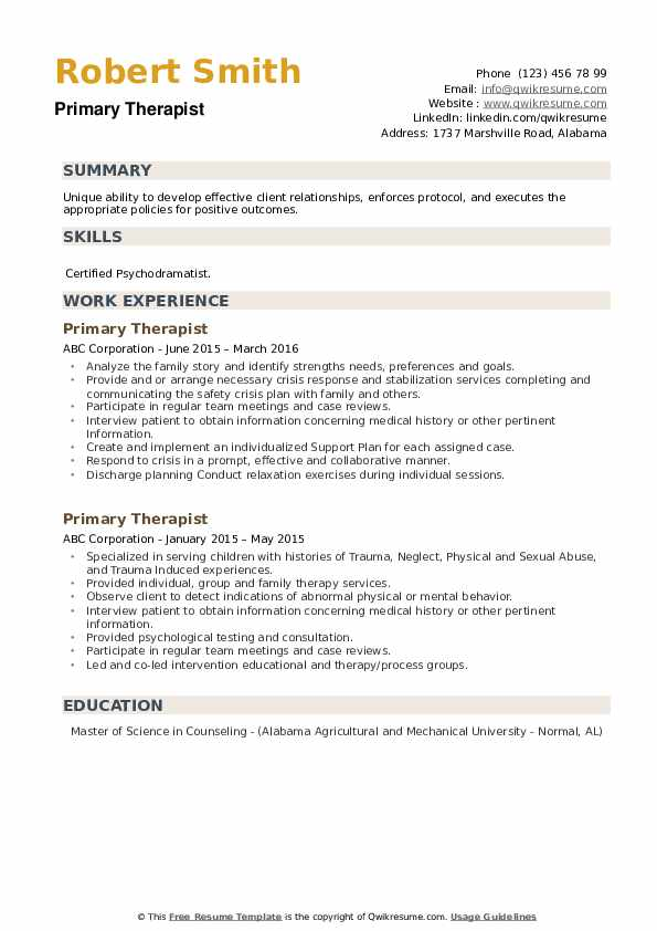 Primary Therapist Resume example