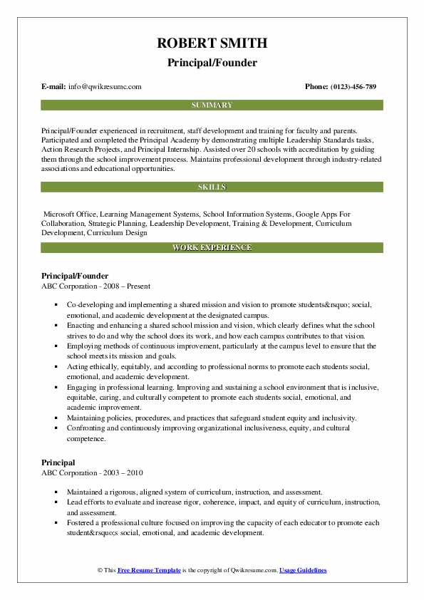 Principal/Founder Resume Example