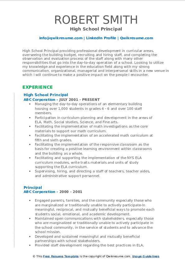 Principal Resume Samples Qwikresume