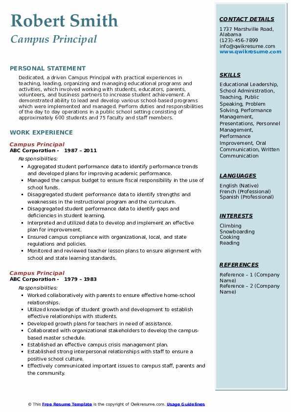 principal resume samples