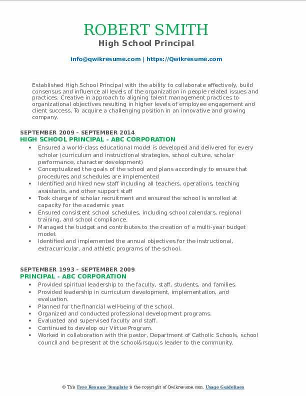 Principal Resume Samples Qwikresume