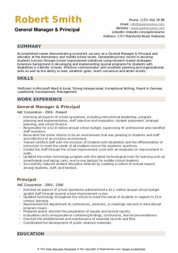 General Manager & Principal Resume Example
