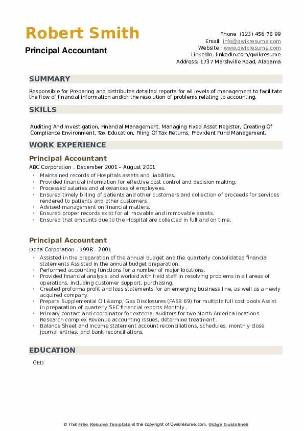 Principal Accountant Resume example