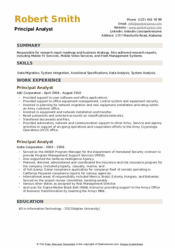 Principal Analyst Resume example