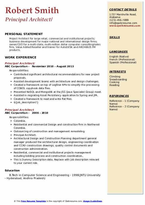 Principal Architect Resume example