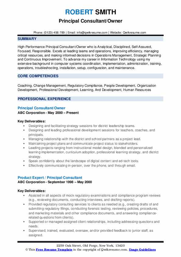 Principal Consultant Resume Samples Qwikresume