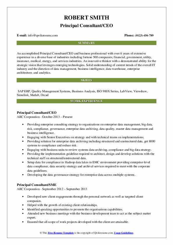 Principal Consultant/CEO Resume Sample