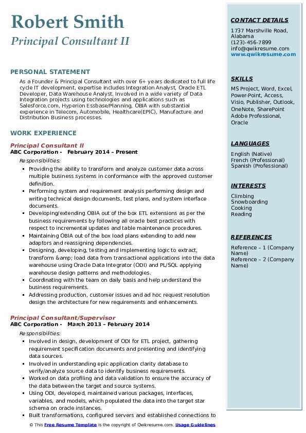 Principal Consultant II Resume Sample