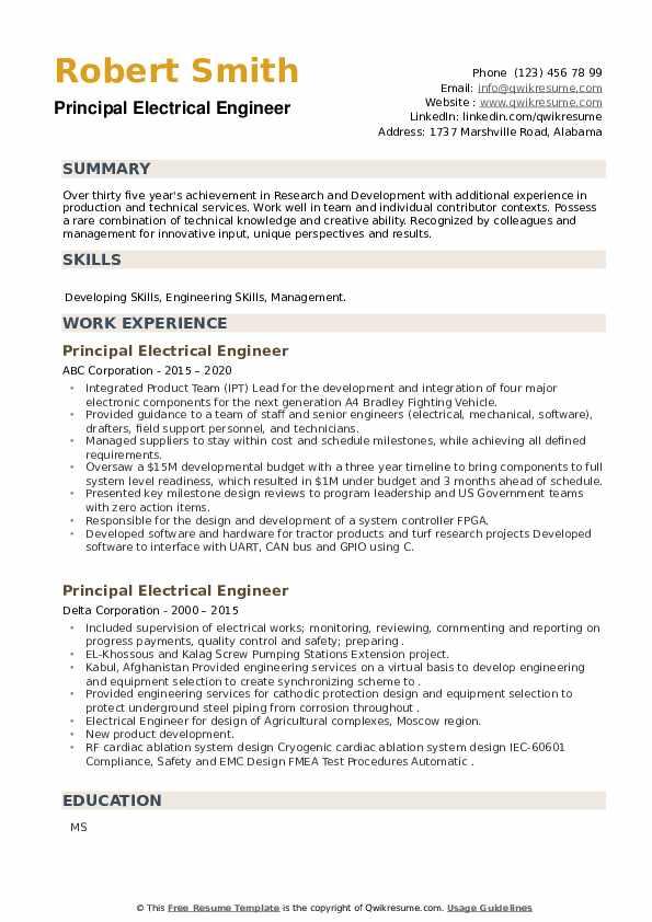 Principal Electrical Engineer Resume example