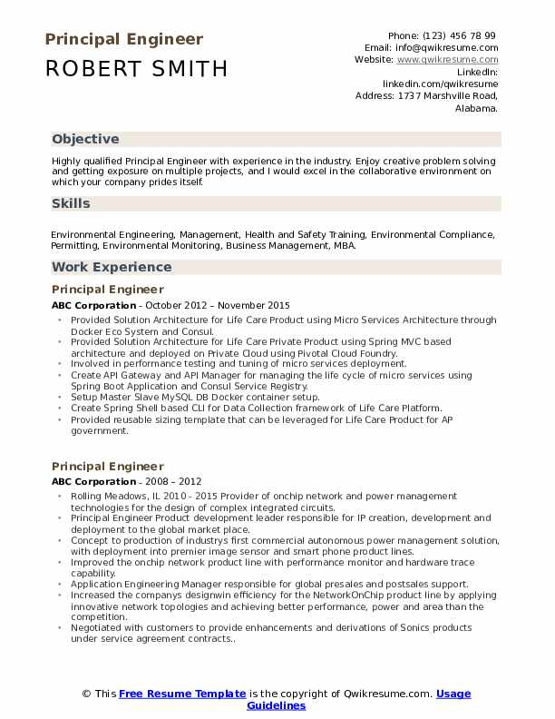Principal Engineer Resume Sample
