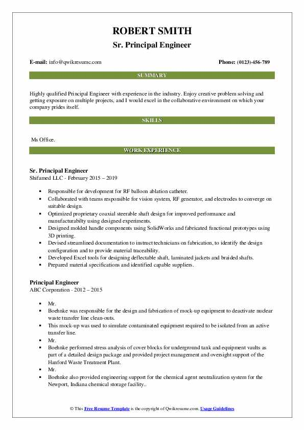 Sr. Principal Engineer Resume Example