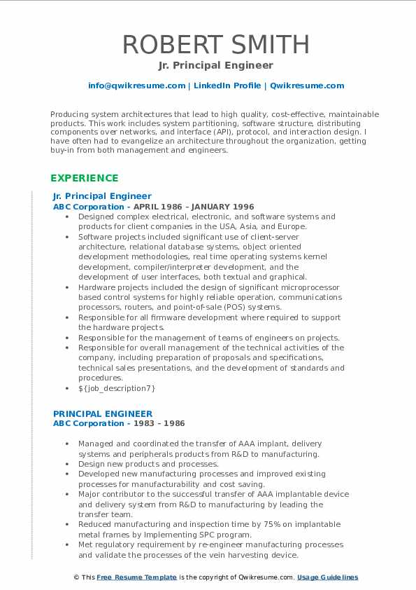 Principal Engineer Resume Samples Qwikresume