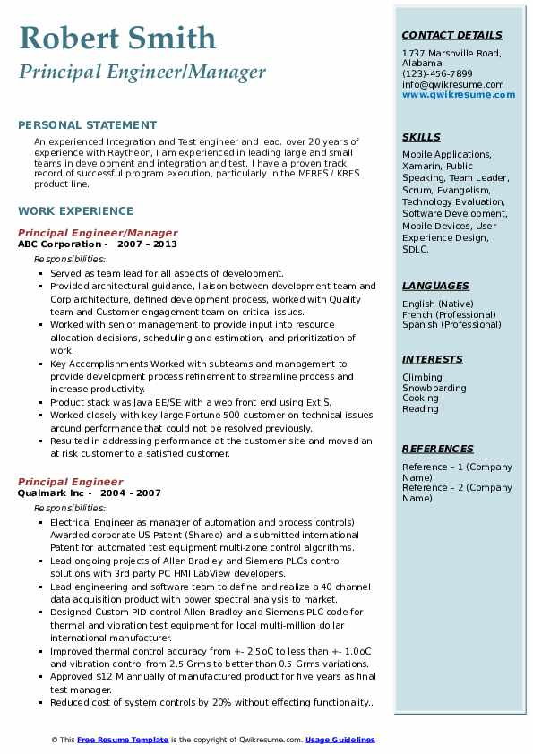 Principal Engineer/Manager Resume Model