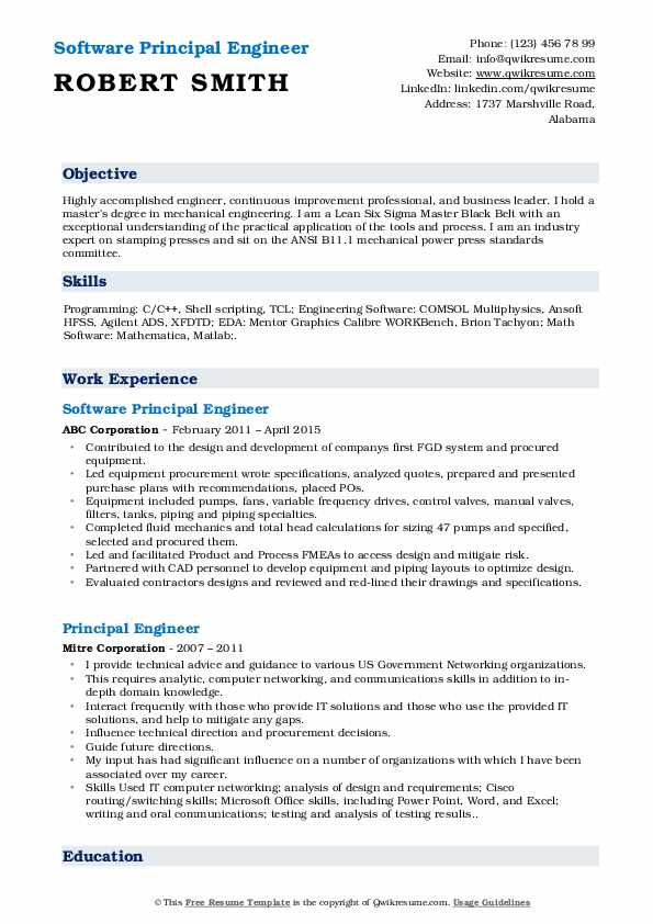 Software Principal Engineer Resume Example