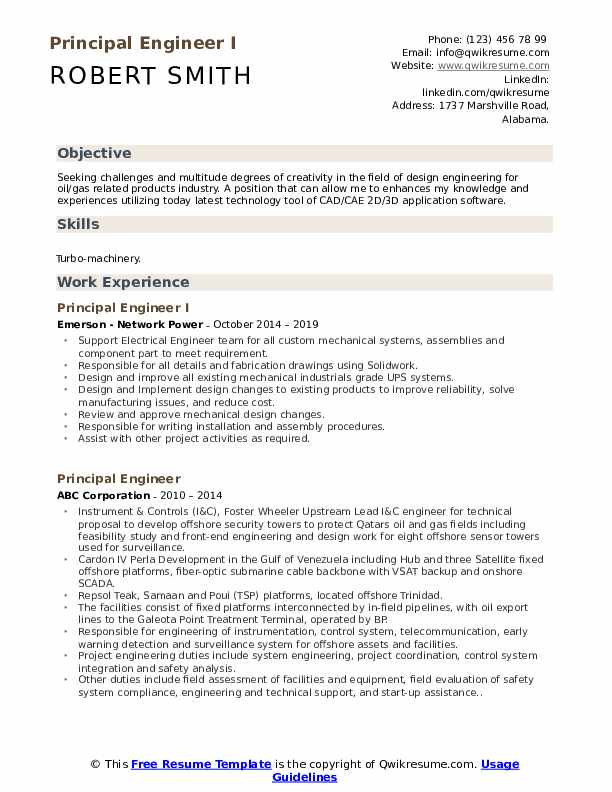 Principal Engineer I Resume Template