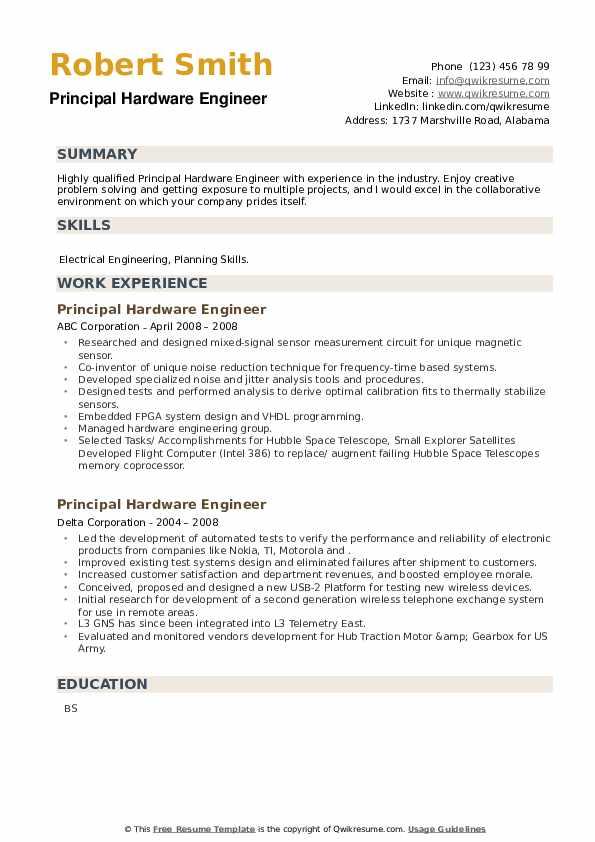 Principal Hardware Engineer Resume example