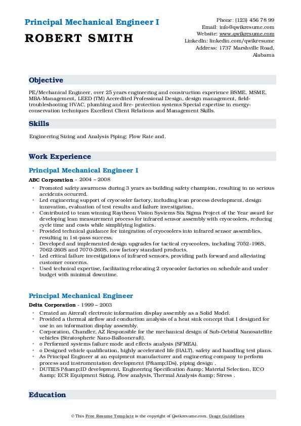 principal mechanical engineer resume samples