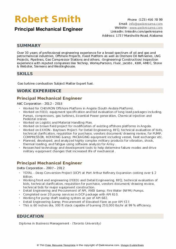 Principal Mechanical Engineer Resume example