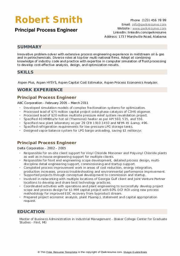 Principal Process Engineer Resume example