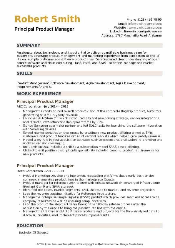 Principal Product Manager Resume example