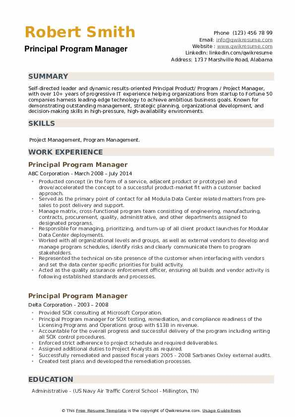 Principal Program Manager Resume example