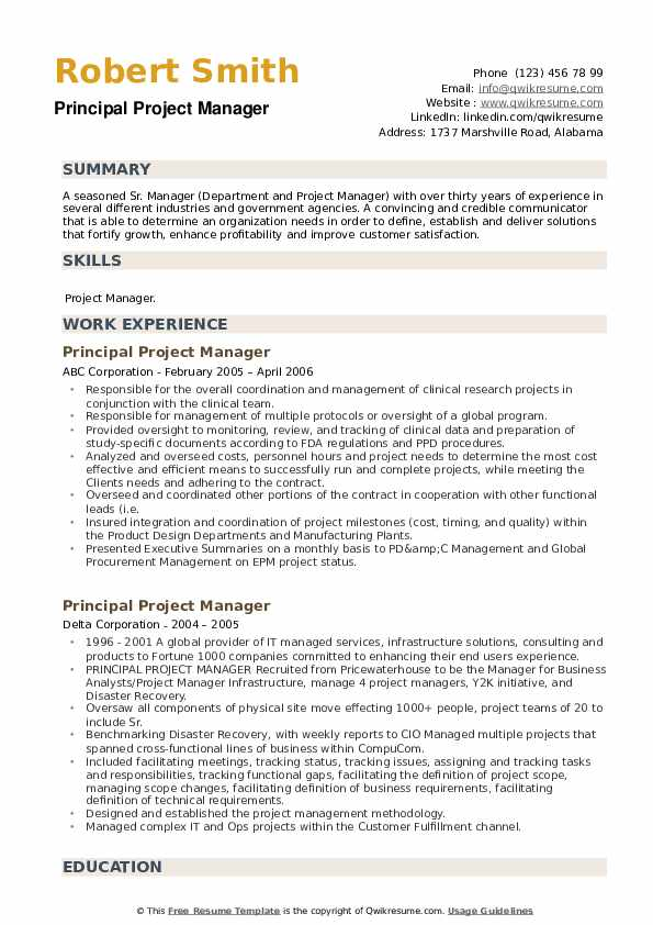Principal Project Manager Resume example