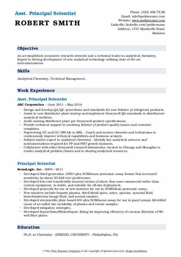 Asst. Principal Scientist Resume Sample