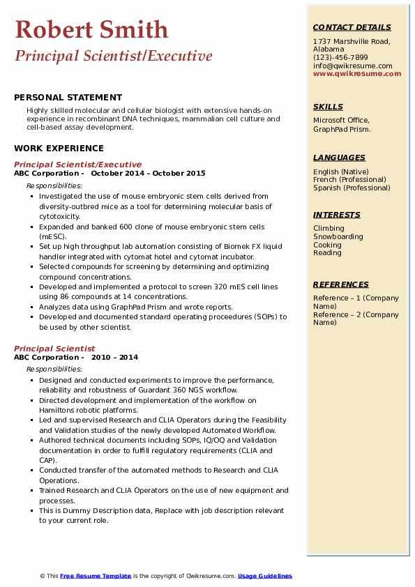 Principal Scientist/Executive Resume Sample