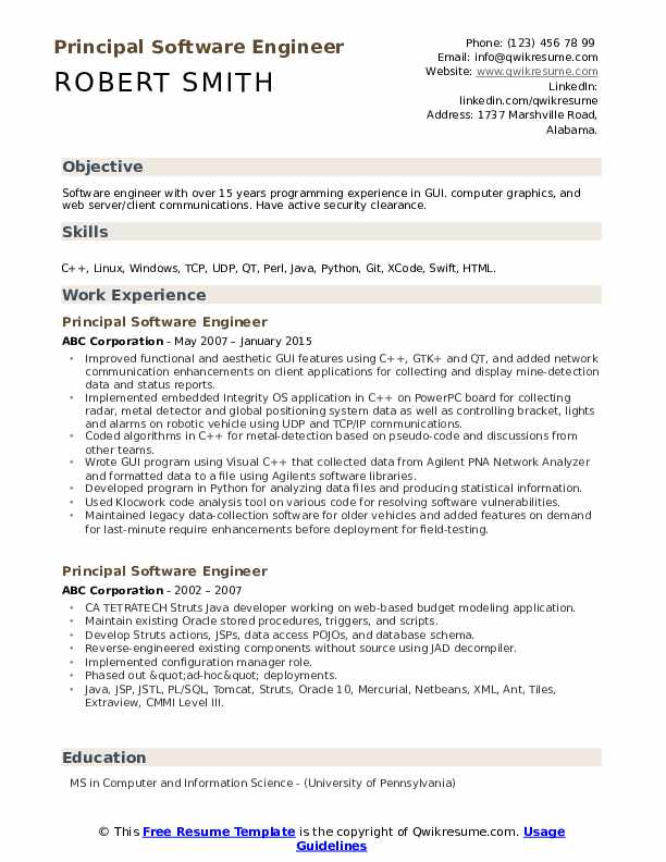 Principal Software Engineer Resume Format