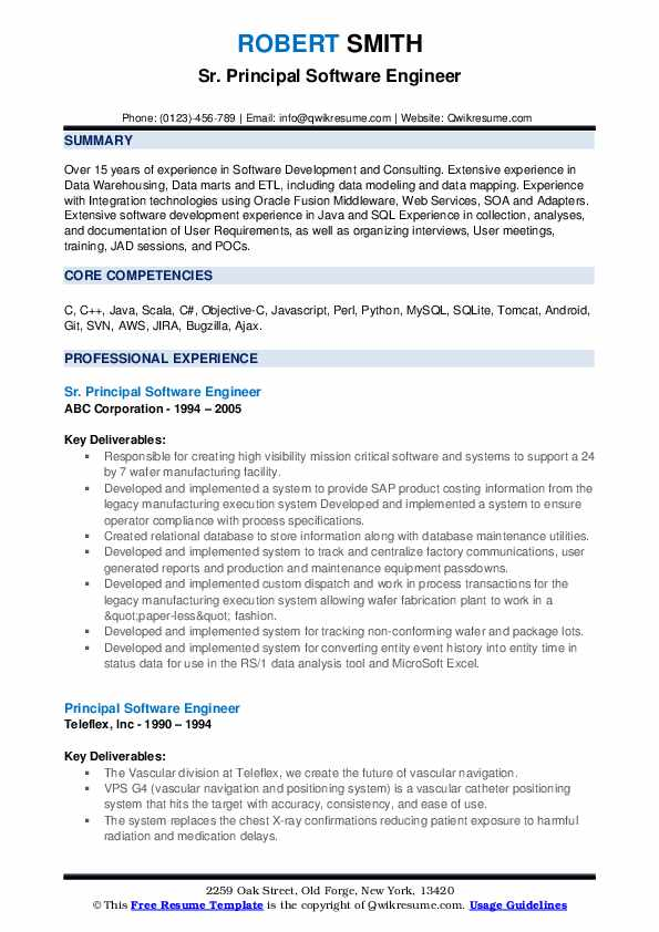 Sr. Principal Software Engineer Resume Format