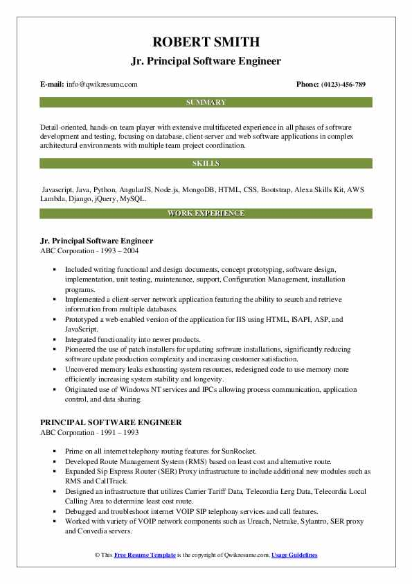Jr. Principal Software Engineer Resume Template