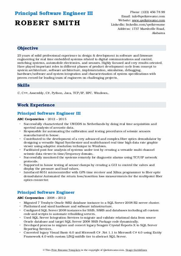 Principal Software Engineer III Resume Model