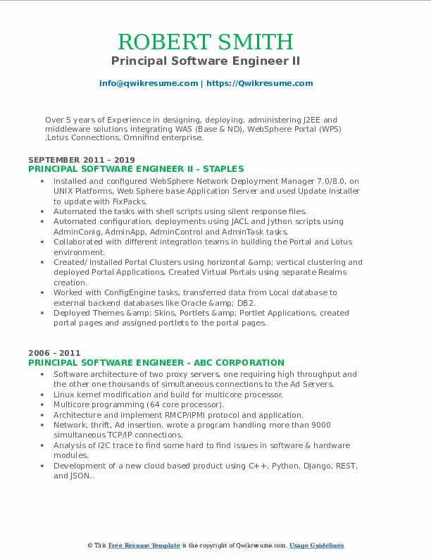 Principal Software Engineer II Resume Template