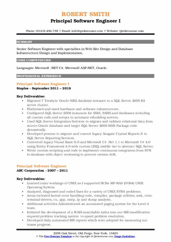 Principal Software Engineer I Resume Format