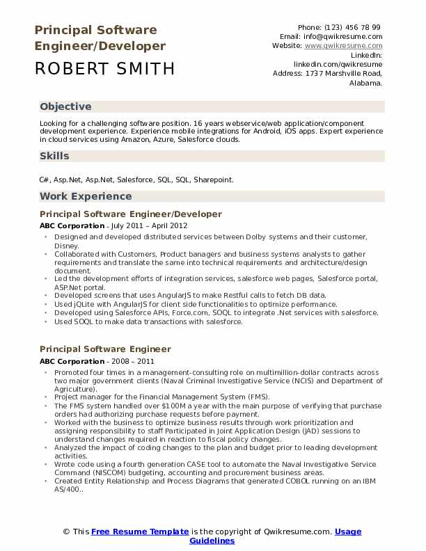 Principal Software Engineer/Developer Resume Model