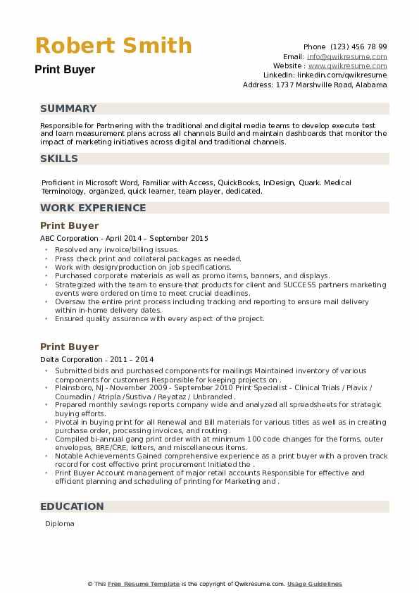 Print Buyer Resume example