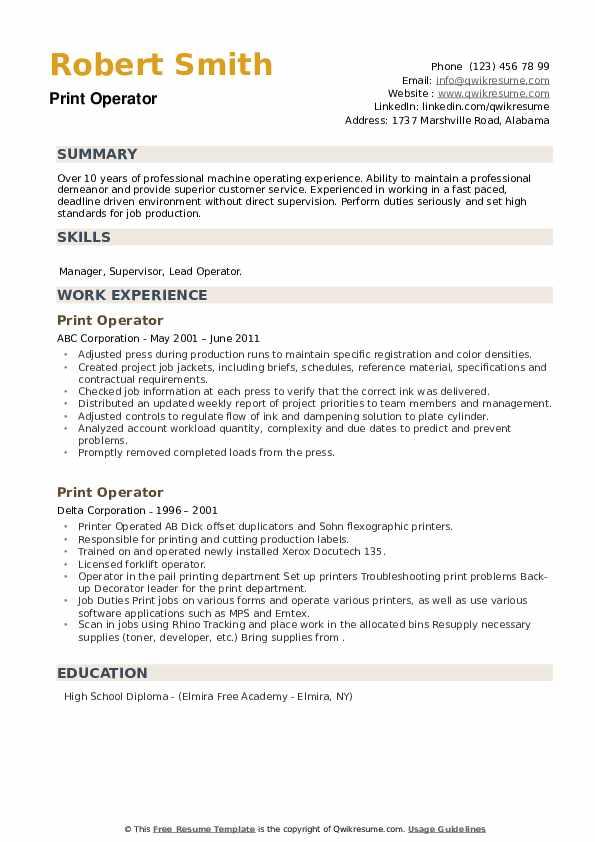 Print Operator Resume example