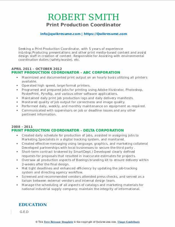 print production coordinator resume samples  qwikresume